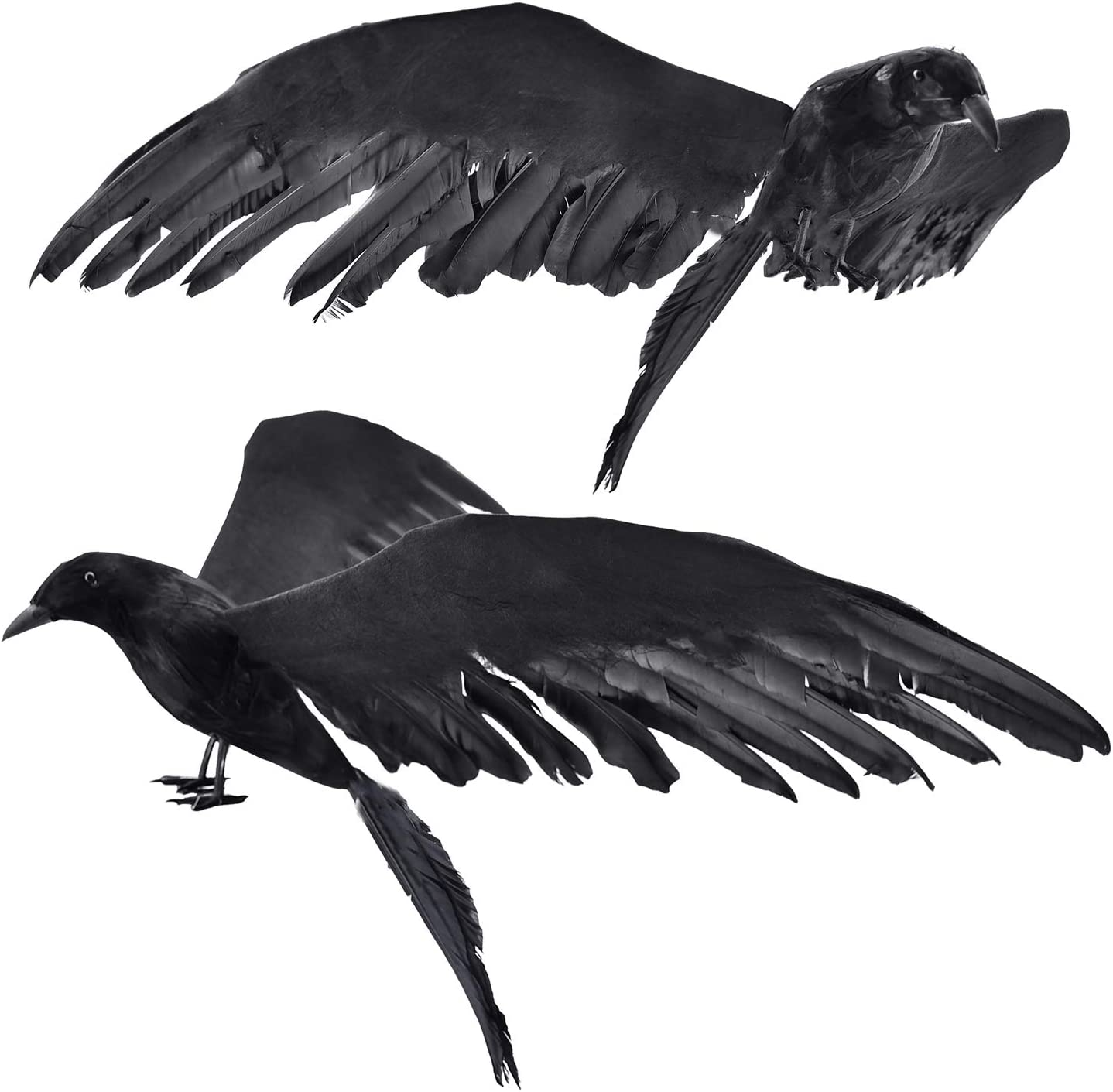 GEJRIO Halloween Realistic Crows, 2-Pack 14.5inch Halloween Black Feathered Crows, Large Handmade Crow Prop for Indoor Outdoor Ravens Birds Decoration