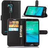 TopAce Asus ZenFone Go (ZB551KL) custodia, portafoglio in pelle Premium custodia/Flip Case/custodia per Asus ZenFone Go (ZB551KL), Similpelle, PU-Leather Case-Black VII, Asus Zenfone GO (ZB551KL)