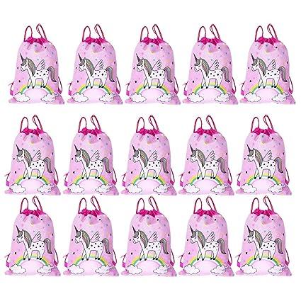 SIMUER 15 pcs Unicornio Bolsas de Fiesta Regalo Bolsa de Cuerdas Unicornio Bolsa con cordón Mochila Bolsa Dulces Gimnasio Backpack para Infantil Niñas ...
