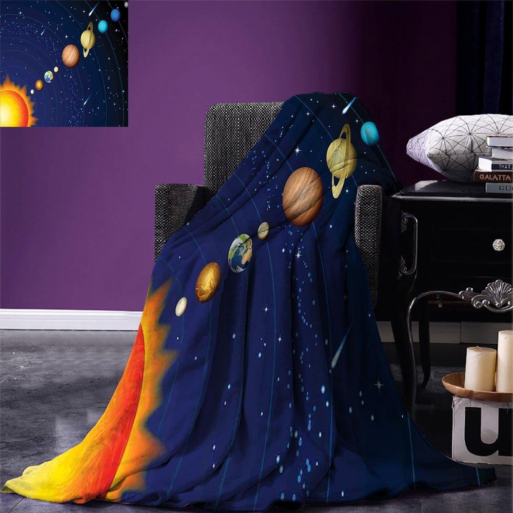 smallbeefly Space Warm Microfiber All Season Blanket Solar System with Sun Uranus Venus Jupiter Mars Pluto Saturn Neptune Image Print Artwork Image,Multicolor, Dark Blue Orange