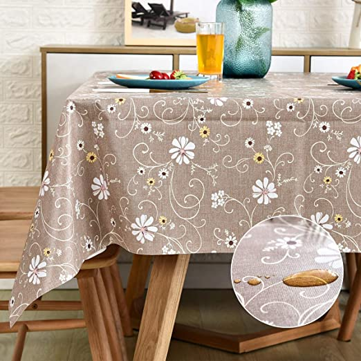 Autumn Leaves Beige PVC Tablecloth Vinyl Oilcloth Kitchen Dining Table