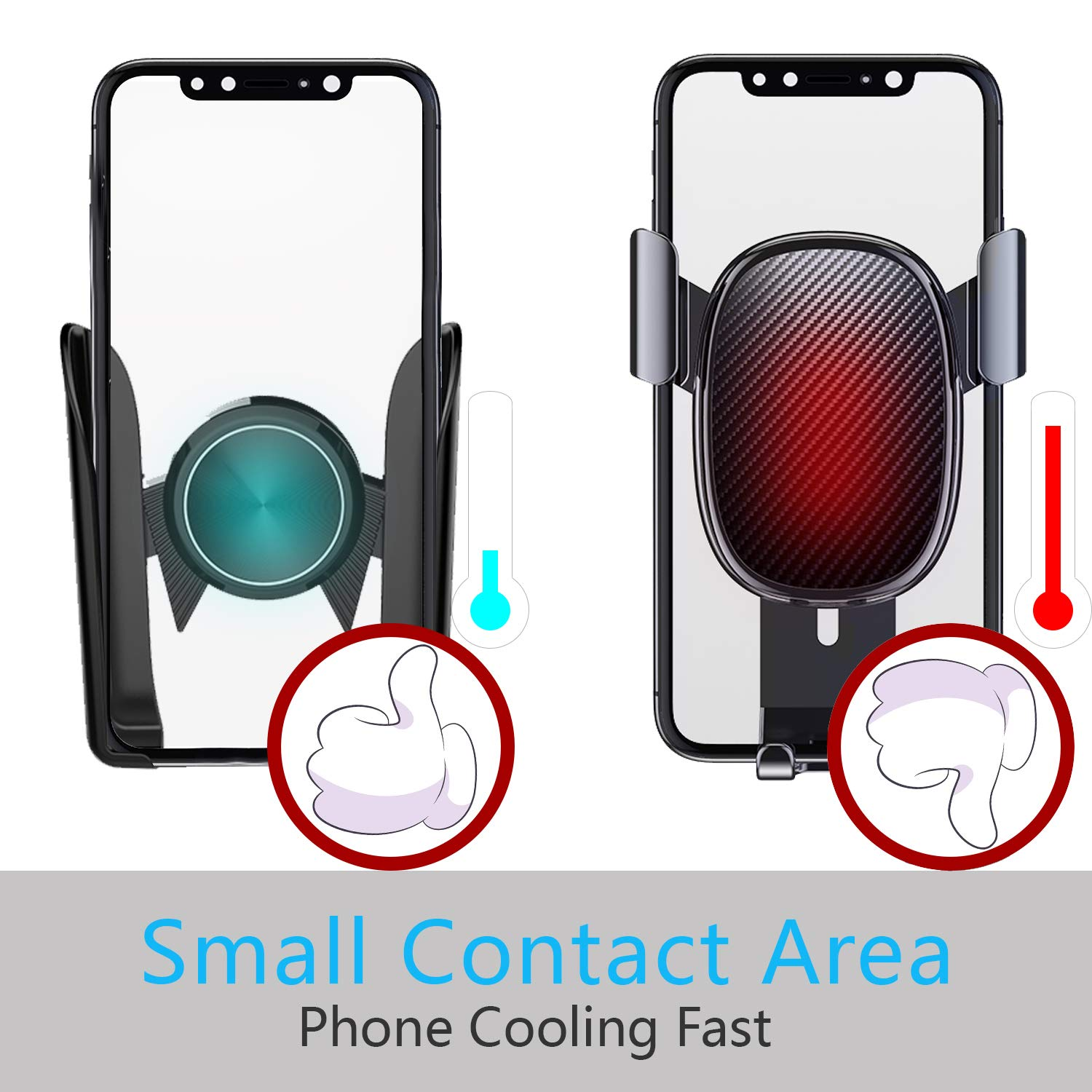 Stable Car Phone Mount Handsfree Car Air Vent Clip Mount Cell Phone Holder Dashboard Cradle 4 in 1 for Car and Home Compatible with iPhone Xs XR X 7 6S 6 Plus 5S Samsung Galaxy S9 S8 S8 S7 and More