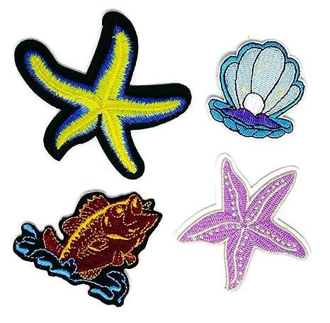Juego de 4 estrellas de pescado, perla marrón, peces D.I.Y. Parche bordado para coser. Pasa ...
