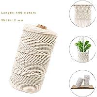 Hecha a Mano Craft Cuerda,Cordel de Algodón,natural trenzado