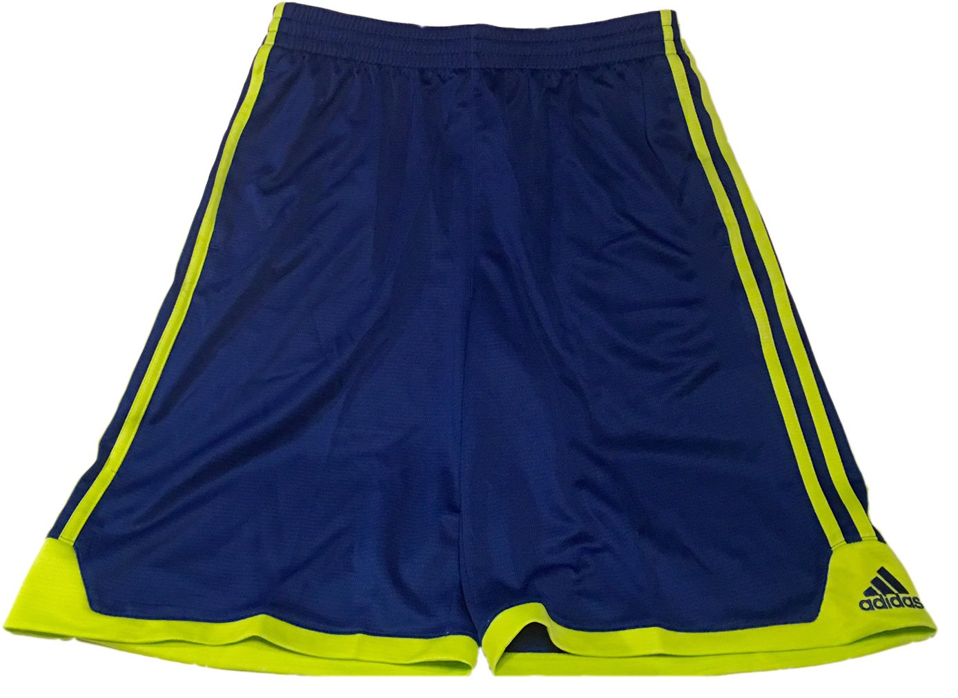 adidas Performance Mesh Athletic Shorts, Blue/Yellow Stripes, Large 14-16