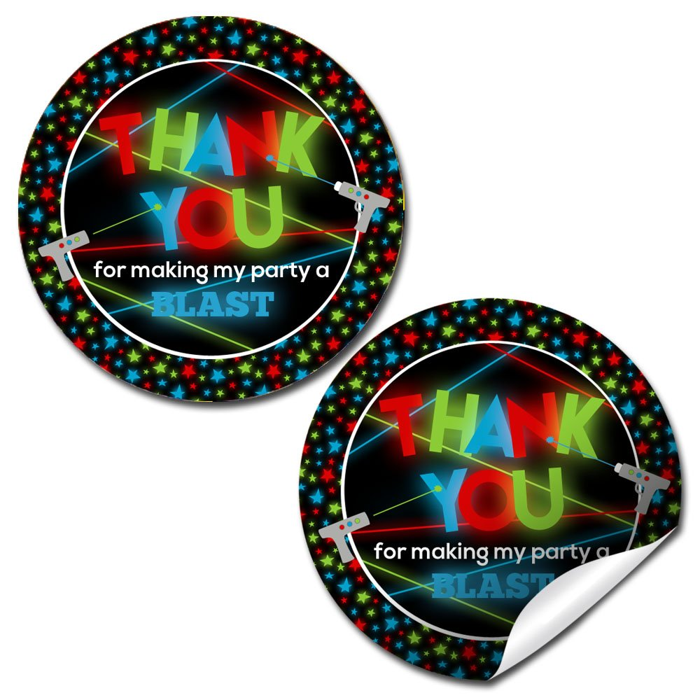 Laser Tag Birthday Party Sticker Labels, 40 2'' Party Circle Stickers by AmandaCreation, Great for Party Favors, Envelope Seals & Goodie Bags