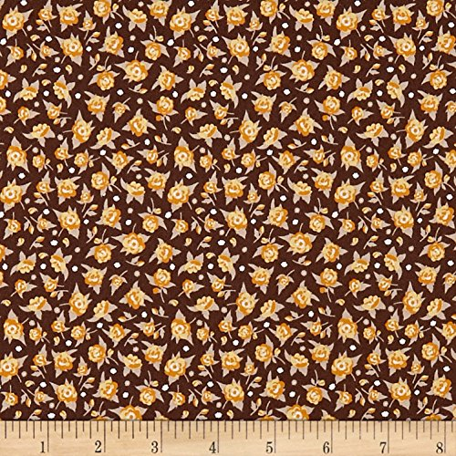 Penny Rose Crow Calico Brown Fabric by The Yard