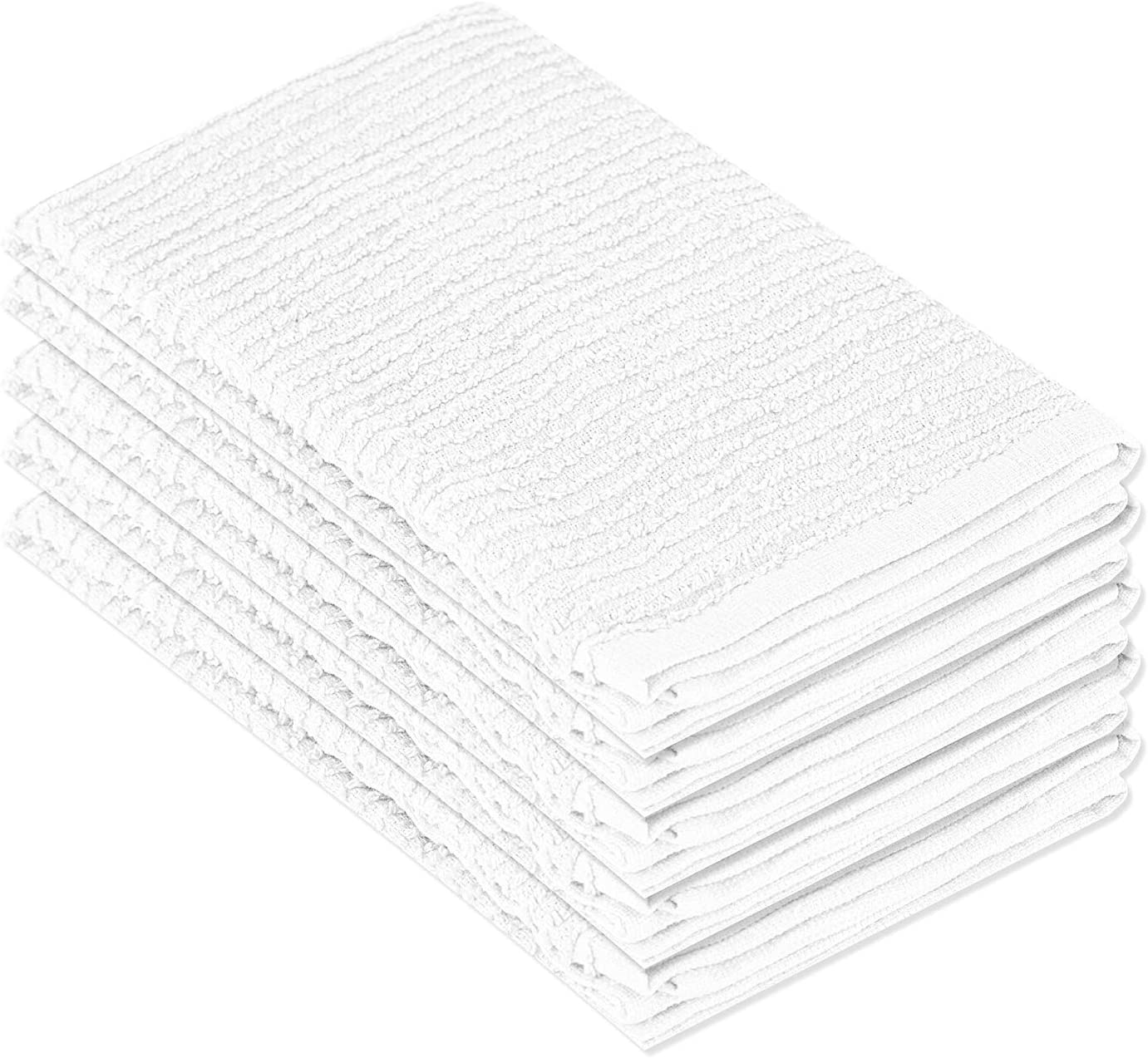 DecorRack 5 Pack 100% Cotton Bar Mop, 16 x 19 inch, Ultra Absorbent, Heavy Duty Kitchen Cleaning Towels, White (5 Pack)