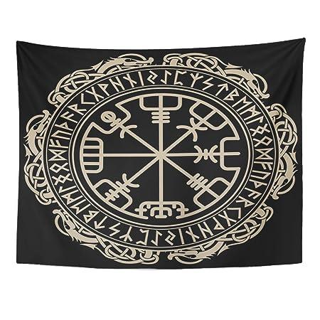 VaryHome Tapiz negro celta vikinga diseño mágico mágico mágico de ...