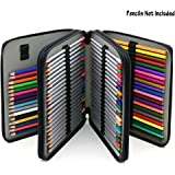 BTSKY Deluxe PU Leather Pencil Case For Colored Pencils - 120 Slot Pencil Holder (Black)