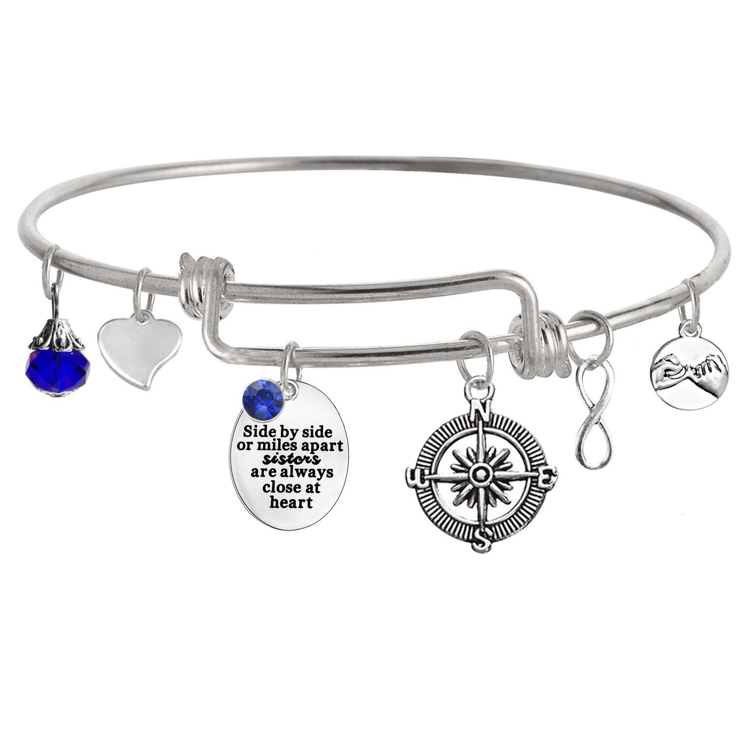 TISDA ''Side by side or miles apart sisters are always close at heart'' Expandable Wire Bangle Bracelets (I September)