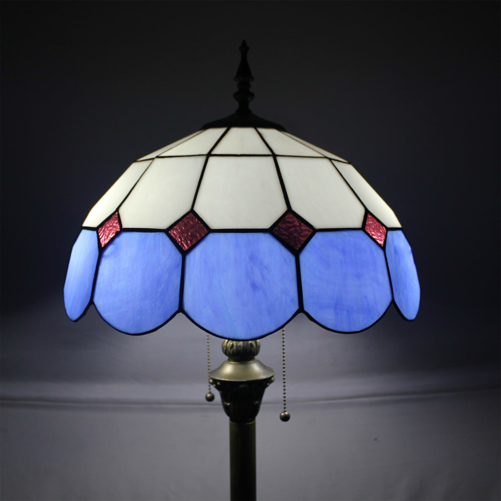 Tiffany 16-Inch Mediterranean European Pastoral Style Elegant Luxury Creative Handmade Stained Glass Tiffany Floor Lamp - Blue