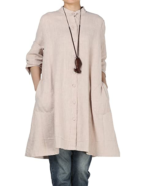 610f5ee5102 Vogstyle Women s Autumn Cotton Linen Full Front Buttons Shirt Dress with  Pockets Medium Beige