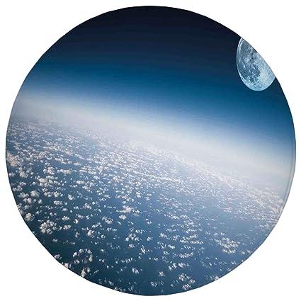 Amazon.com: 2.95 Ft Round Bathroom Rug,Space,Aerial Atmosphere View ...