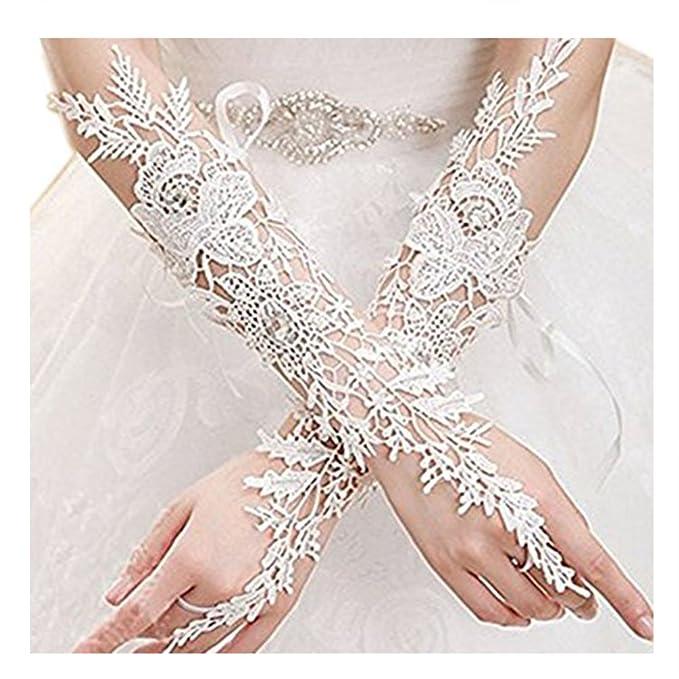 5f80a40e0e6 Lemandy Fingerless Bridal Lace Wrist Wedding Gloves Flower (White)   Amazon.co.uk  Clothing