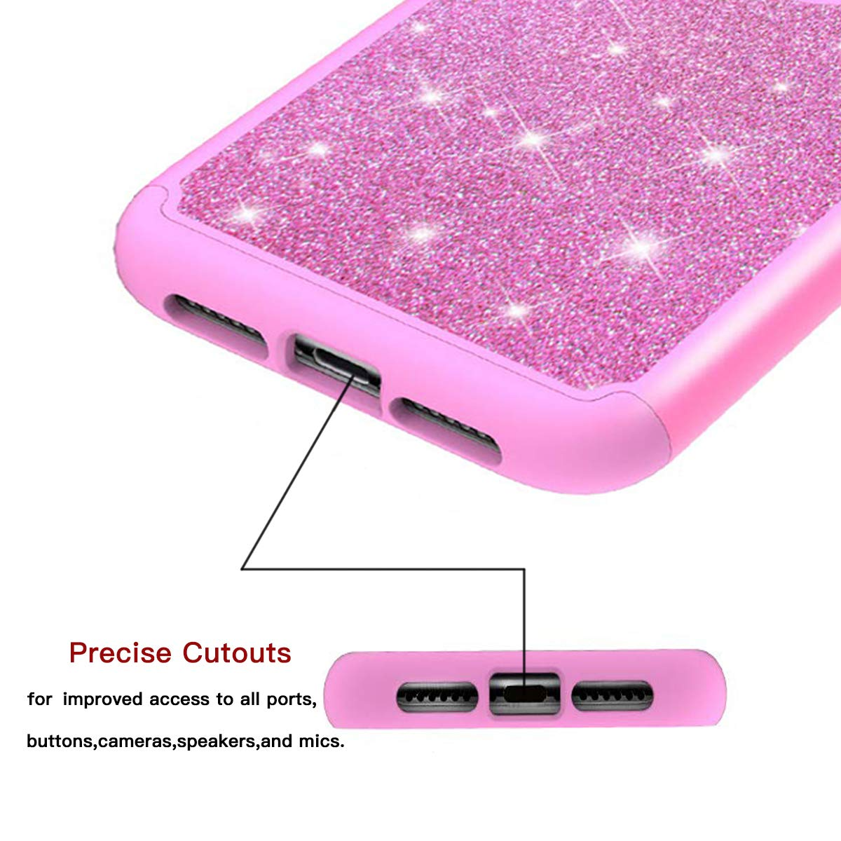 MIITUUELE Galaxy S10 Case, Glitter Case Sparkle Bling, Shining Heavy Duty Protection Dual Layer Hybrid Protective Armor Hard Cover Girls Women Cute Case for Samsung Galaxy S10 (Rose Red)