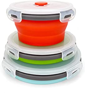 CARTINTS Round Collapsible Bowls with Lids, Reusable Silicone Food Storage Containers, 3Pack 350-500-800ML, Stackable Space Saving, Microwave and Freezer Safe, Meal Prep Container