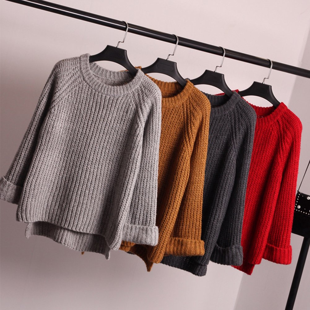 8173108d1048 Eleery Fashion Women New Plain Oversized Round Neck Knitted Sweater ...
