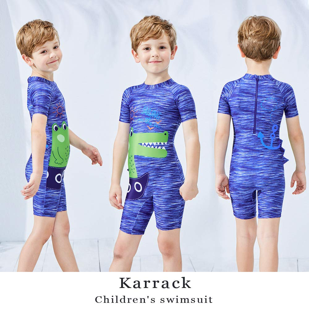 Karrack Kid One Piece Rash Guard Swimsuit Water Sport Short Swimsuit UPF 50 Sun Protection Bathing Suits for Boy