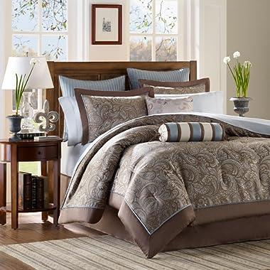 Madison Park Premium Quality Elegant Stylish Aubrey Blue 12 Piece Comforter Queen Size Set, 1 Comforter, 2 Shams, Bedskirt, 2 Pillows, 2 Euro Shams, Flat Sheet, Fitted Sheet and 2 Pillowcases
