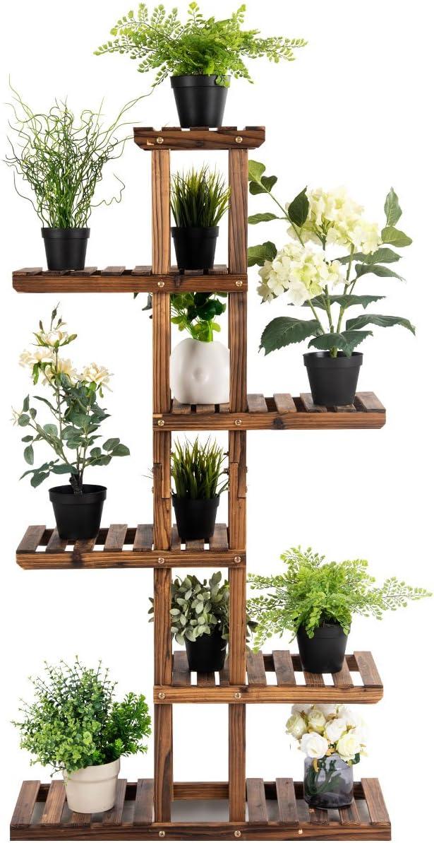 COSTWAY Estante de Plantas Floral Soporte para Macetas Jard/ín Balc/ón Decorativas Estante Madera Multinivel 140,5 x 25 x 75 cm