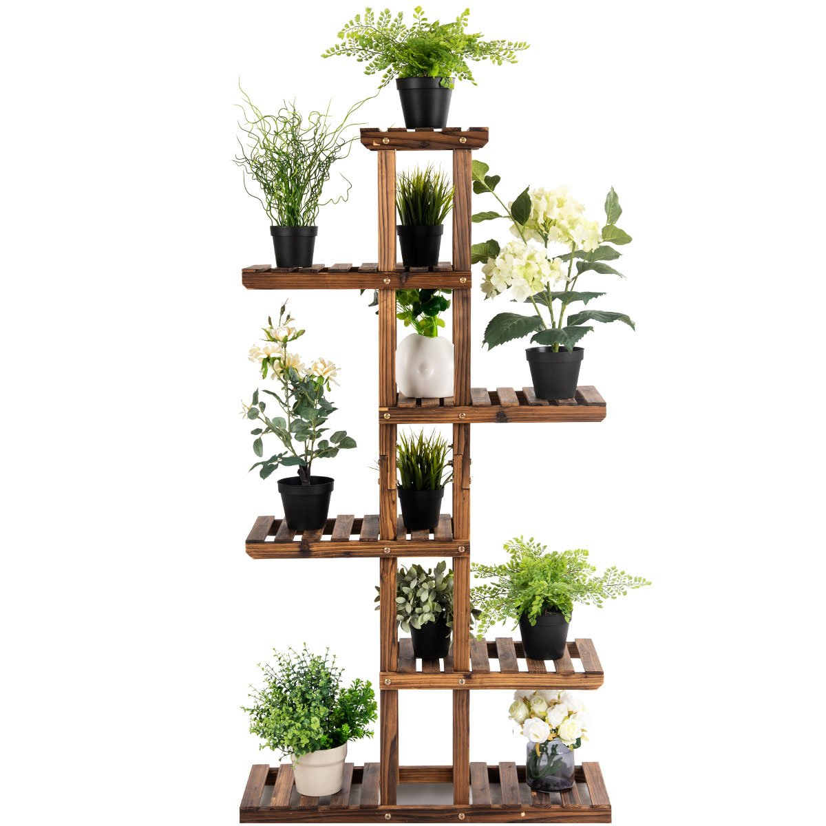 Giantex Flower Rack Wood Plant Stand 7 Wood Shelves 11 Pots Bonsai Display Shelf Indoor Outdoor Yard Garden Patio Balcony Living Room Multifunctional Storage Rack Bookshelf W/Hollow-Out Rack by Giantex