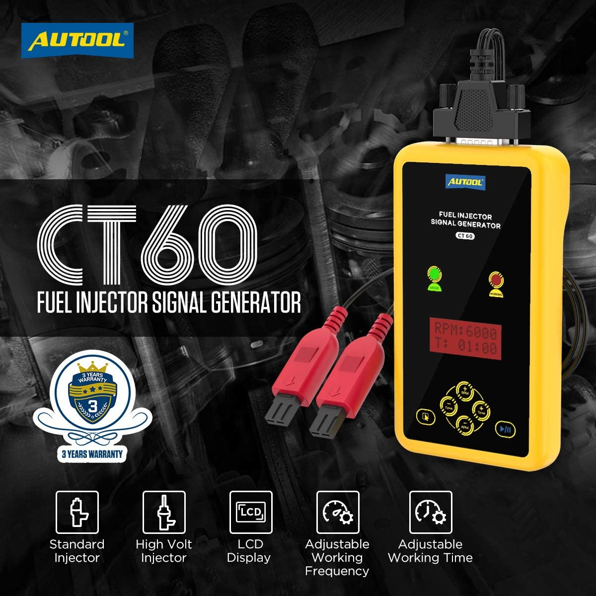 AUTOOL CT60 Car Fuel Injector Signal Generator 12V Auto Fuel Injector Flush Cleaner Adapter Fuel System Cleaning Assistant with 2 Nozzles Support High Volt Diesel Injector