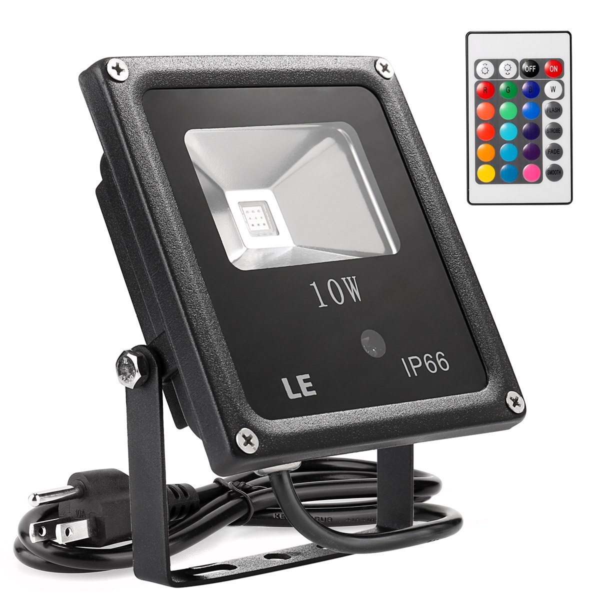 Le 10w rgb led flood lights outdoor color changing security light le 10w rgb led flood lights outdoor color changing security light 16 colors 4 modes with remote control ip66 waterproof floodlight us 3 plug aloadofball Image collections