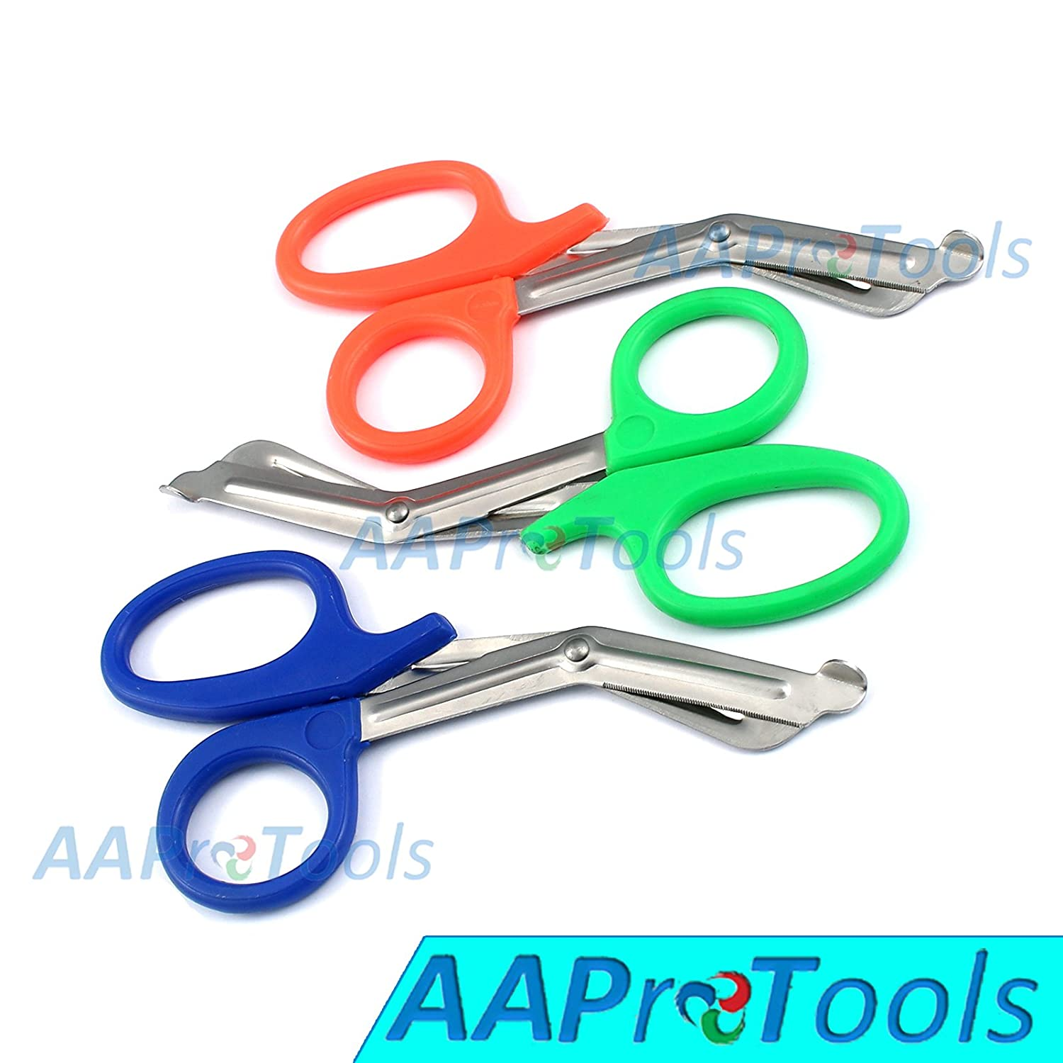 "AAPROTOOLS SET OF 3 ( ORANGE GREEN BLUE ) TRAUMA PARAMEDIC EMT SHEARS SCISSORS 7.5"" A+ QUALITY"