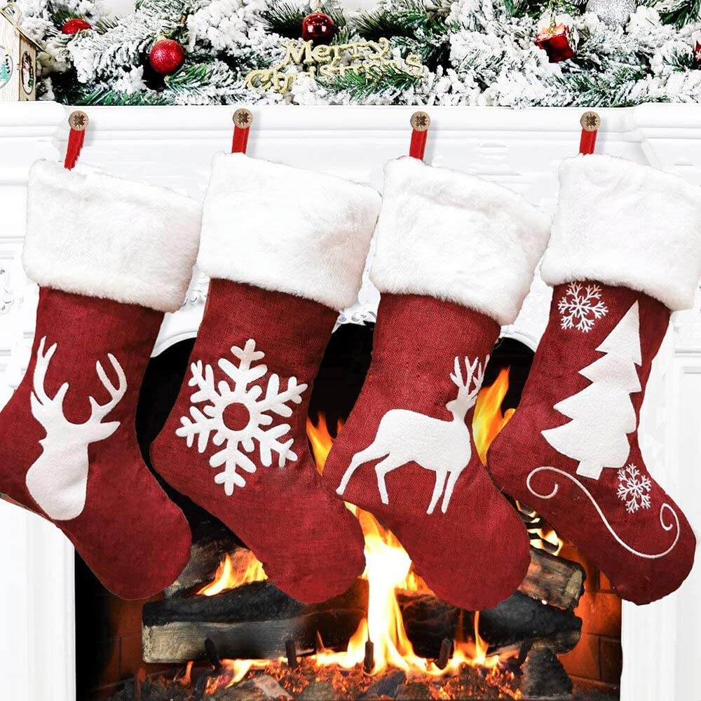 Christmas Decorations for The Home 4 Pack Christmas Stockings, Red/White Holiday Decor, Stockings for Country Christmas Decorations Received WHITIN 3-5 Days