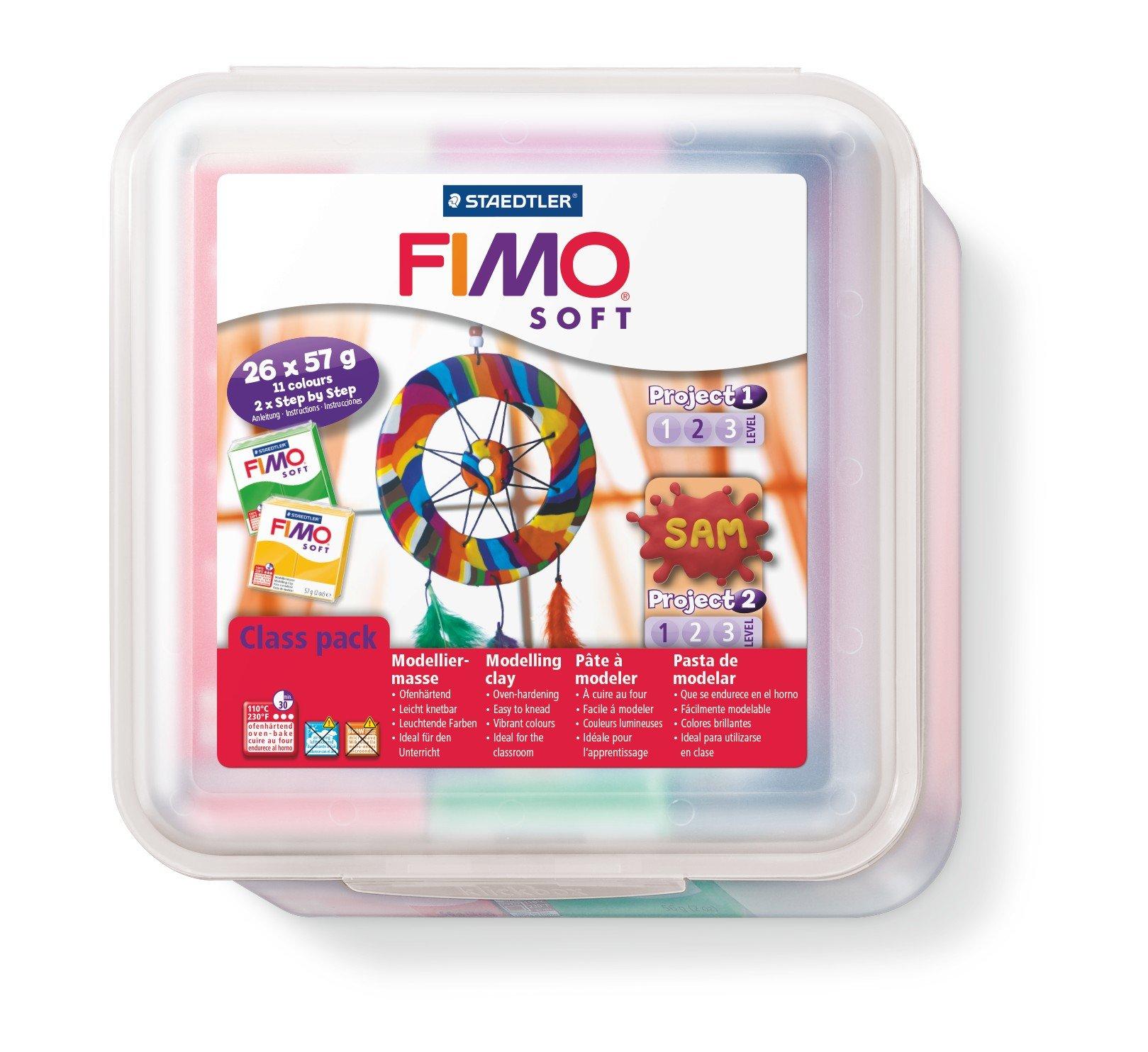 Staedtler FIMO Soft, Pâte à Modeler Extrêmement Souple, Facile à Démouler, Durcissant au Four, Class pack de 26 pains de 57 grammes en 11 Couleurs Assorties, 8023 50 LX product image