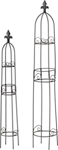 WHW Whole House Worlds French Country Garden Obelisk Trellises, Set of 2, for Plants, Climbing Flowers and Vines, Metal, Black Finish, Water and Weather Resistant, 35 Inches and 28 Inches Tall, Iron
