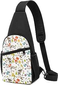 Lindo bolso de hombro con patrón de criaturas del bosque, mochila ligera para el pecho, bolsa cruzada, bolsas de viaje, senderismo, para hombres y mujeres