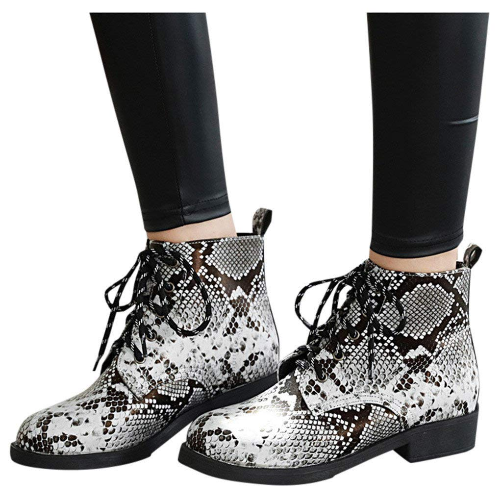 Veodhekai Women Flats Boots Snake Print Lace-Up Round Toe Shoe Booties Low-Heeled Comfortable Roman Shoes White by Veodhekai