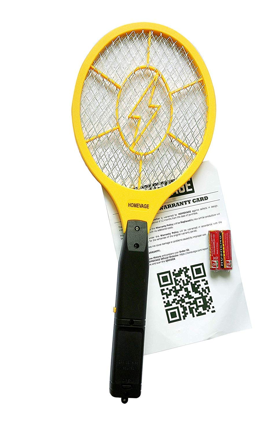 Electric Fly Swatter - Bug Zapper - Best High Voltage Handheld Mosquito, Swat Wasp, Insect, Fruit Fly Trap Killer Zacket For Indoor, Travel, Campings and Outdoor Control (2AA Batteries Included)