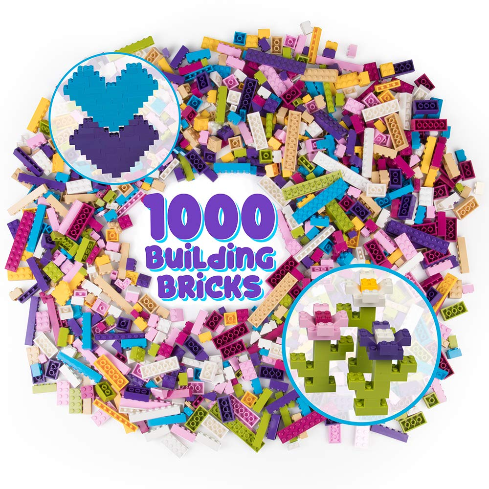 SCS Direct Building Bricks - 1000 Pc Big Bag of Bricks Bulk Pastel Friends-Colored Blocks with 54 Roof Pieces - Tight Fit with All Major Brands
