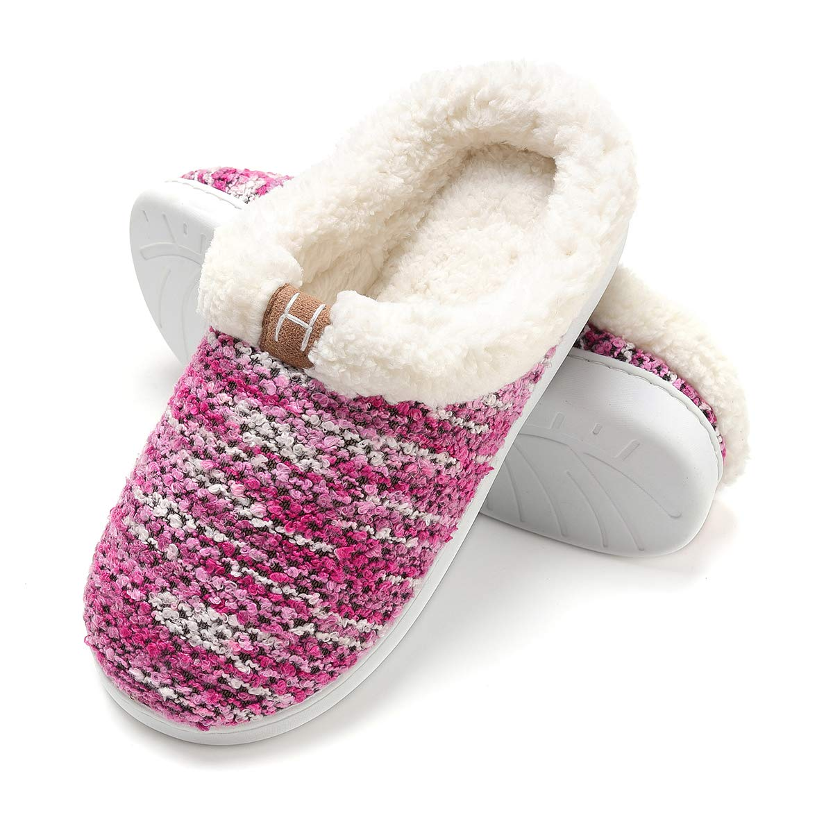 FLY HAWK Hausschuhe Damen Filzpantoffeln aus Wolle und Memory-Baumwolle Drinnen Pantoffeln für Herbst und Winter(HL524)