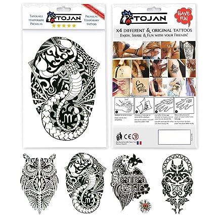 Tatuaje Ephemere Maori para hombre y mujer/4 hojas de tatuajes con ...