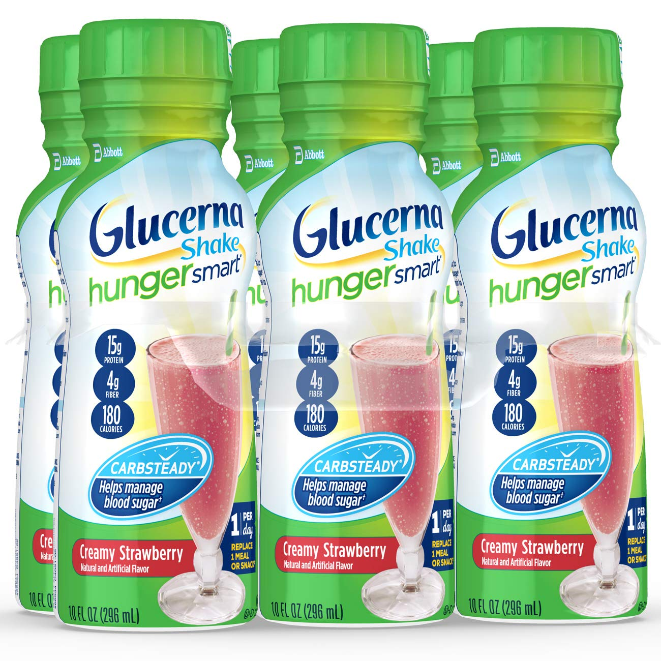 Glucerna Hunger Smart, Diabetes Nutritional Shake, To Help Manage Blood Sugar, Creamy Strawberry, 10 Fl Oz, 24 Count
