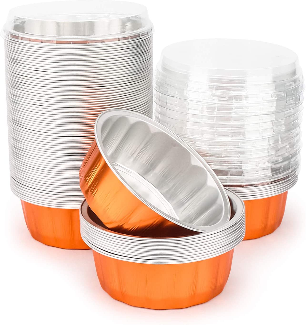 Disposable Creme Brulee Muffin Cupcake Baking Cup Mini Pudding Cups for Party Wedding Birthday Disposable Ramekins for Baking Orange Beasea 8 oz 50 Pack 4 Inch Aluminum Foil Cups with Lids