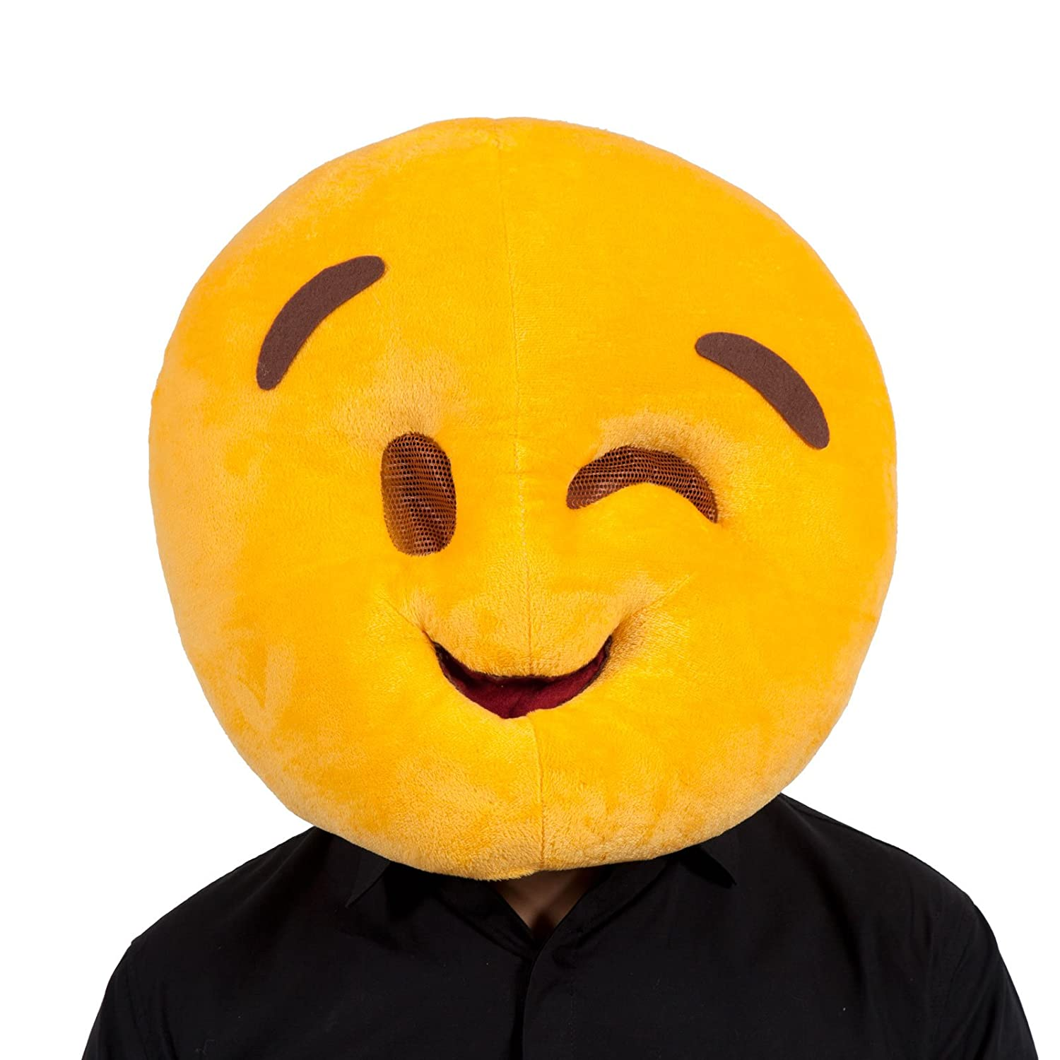 Adults Yellow Plush Wink Face Emoji Emoticon Fancy Dress Funny Mask  Accessory