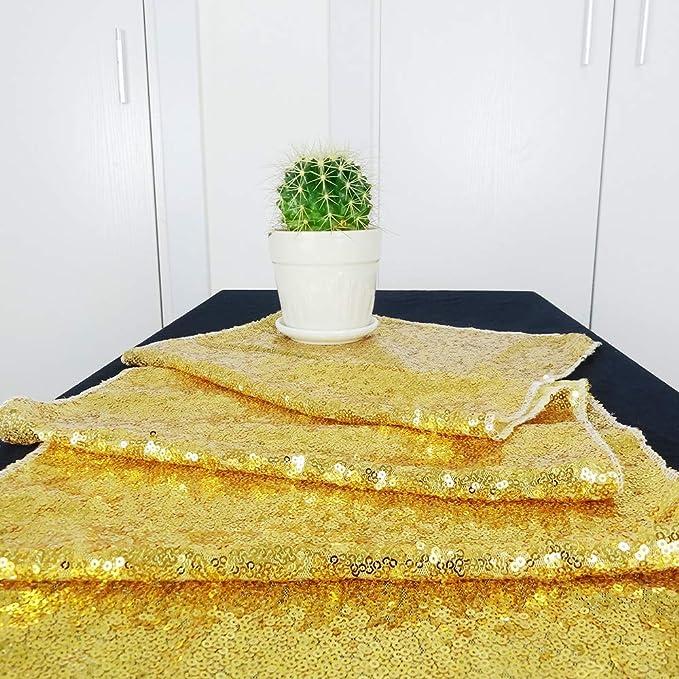30,5 x 152,4 cm Dorado 12x60 HeMiaor Camino de Mesa de Lentejuelas Doradas