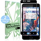 [2 Pack] OnePlus 3/OnePlus 3T, Rockxdays [Easy Installation] 3D Full Coverage Ultra Clear Film Edge Tempered Glass Screen Protector for OnePlus 3/OnePlus 3T black