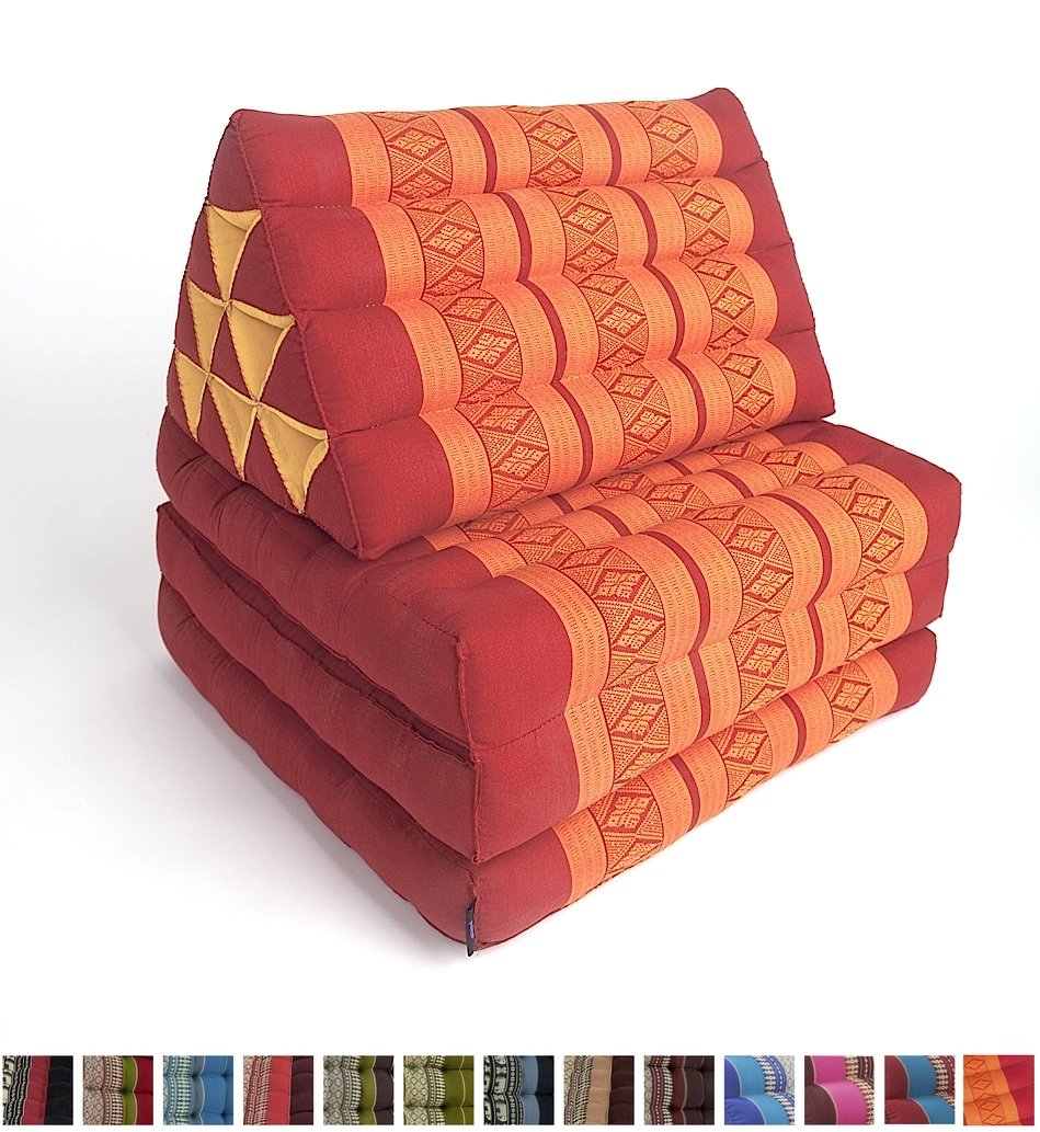 Leewadee Foldout Triangle Thai Cushion, 67x21x3 inches, Kapok Fabric, Orange Red, Premium Double Stitched by Leewadee