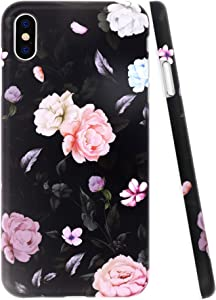 A-Focus Case for iPhone Xs MAX Case Rose, Floral Frosted IMD Design Series Anti Scratch Flexible Slim Fit TPU Rubber Silicone Case for for iPhone Xs Max 2018 6.5 inch Matte Flower Black
