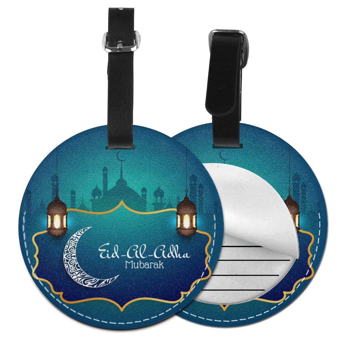 1pcs,2pcs,4pcs Eid Al-Adha Pu Leather Double Sides Print Round Luggage Tag Mutilple Packs