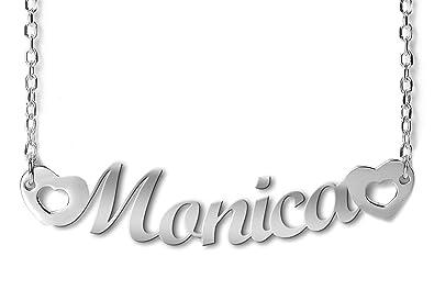 a638abf5f069 NOMISSIMO G11 Collar con Nombre Monica et coeurs Y Corazones de Plata 925  rodeado antialérgico  Amazon.es  Joyería