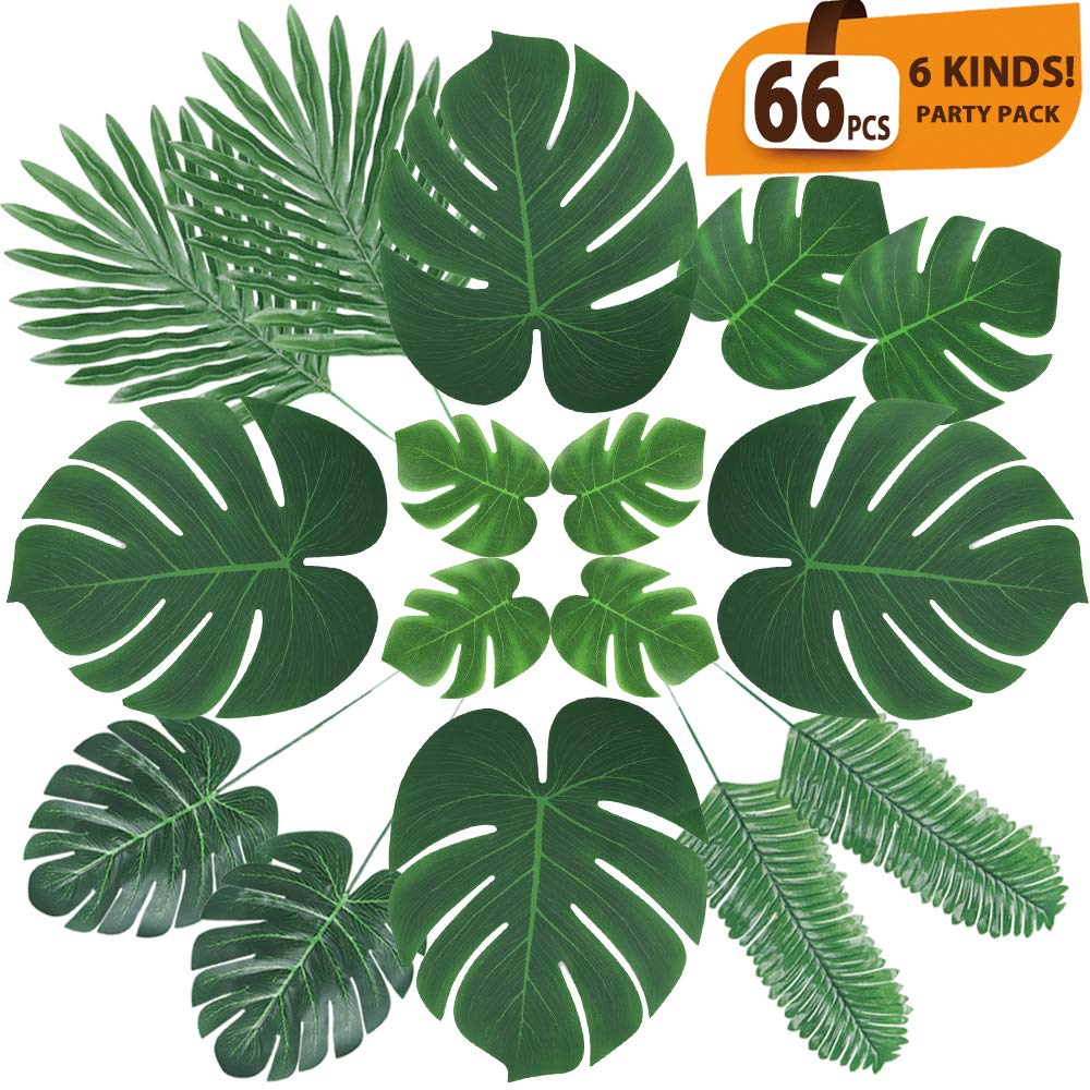 ElaDeco 66 Pcs Artificial Tropical Palm Leaves Monstera Leaves with Stems for Safari Decorations Tropical Party Supplies Jungle Beach Luau Theme Party Decorations (6 Kinds)
