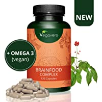 CONCENTRAZIONE e MEMORIA Vegavero | con Omega 3 DHA vegan, Guaranà (Caffeina), Ginseng, Ginkgo e Vitamine gruppo B | Brainfood Complex | 120 capsule | Vegan