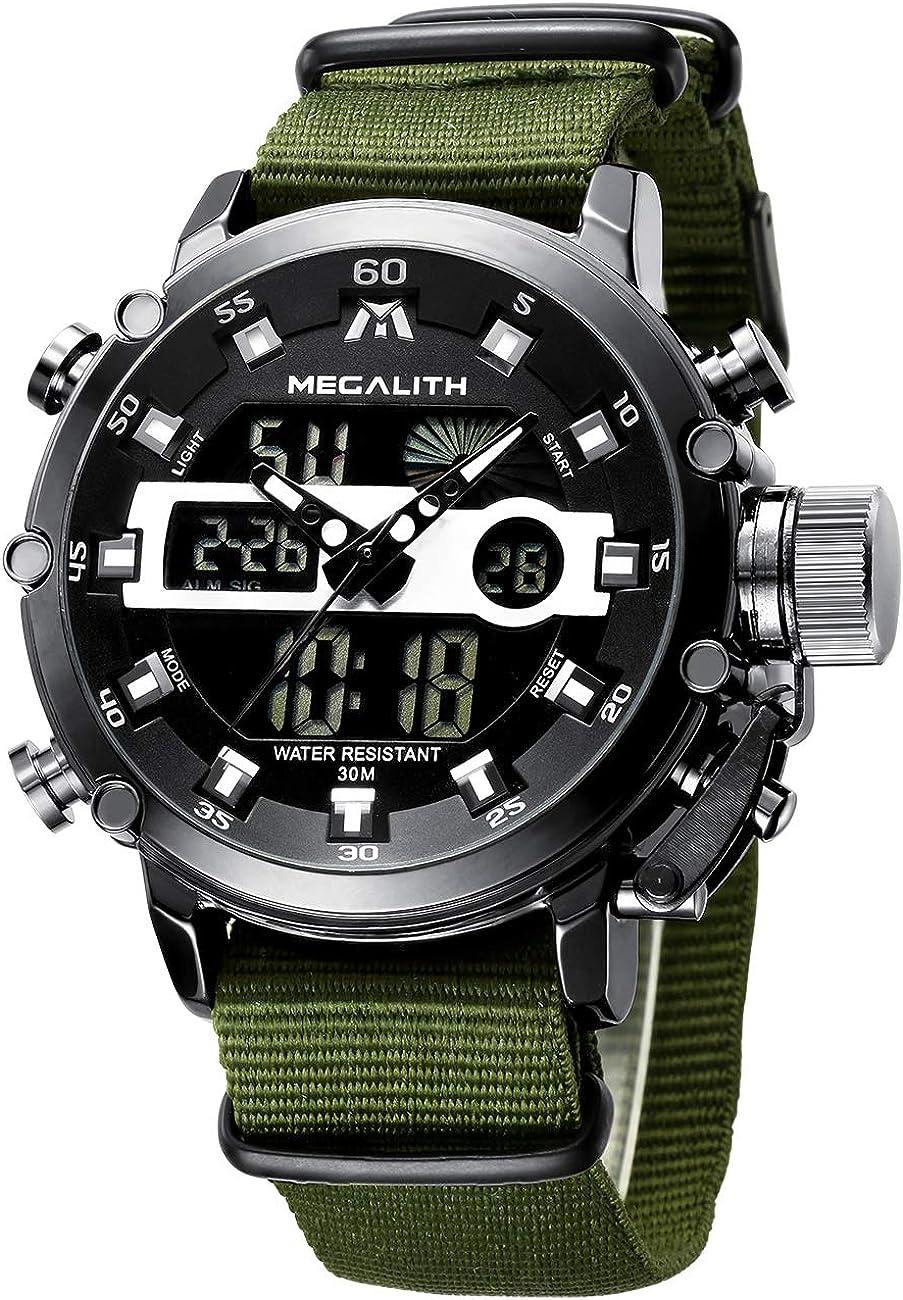 Relojes Hombre Reloj Militar Deportivos Digital Impermeable LED Cronometro Calendario Fecha Electrónico Reloj Grandes de Pulsera de Analógico Cuarzo Casual